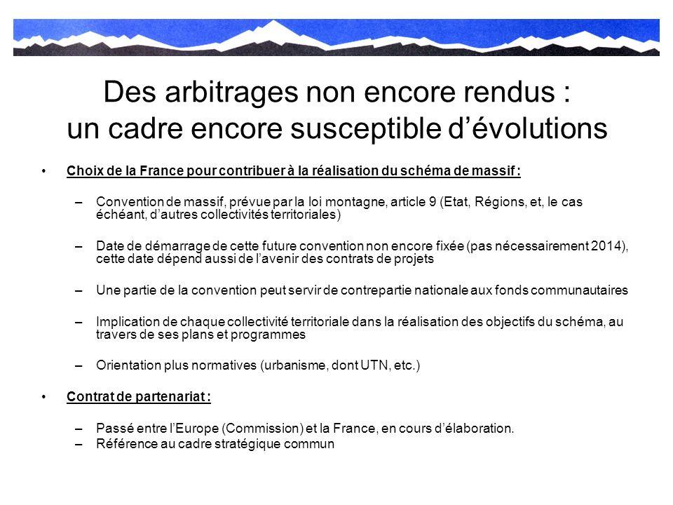 Des arbitrages non encore rendus : un cadre encore susceptible dévolutions Choix de la France pour contribuer à la réalisation du schéma de massif : –