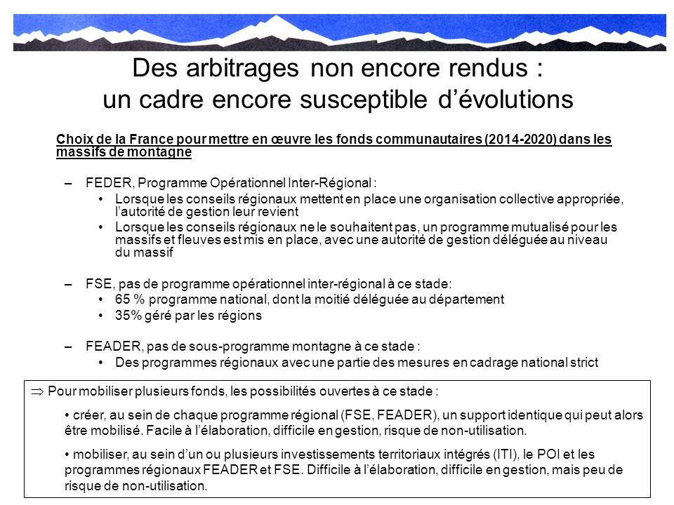 Des arbitrages non encore rendus : un cadre encore susceptible dévolutions Choix de la France pour mettre en œuvre les fonds communautaires (2014-2020
