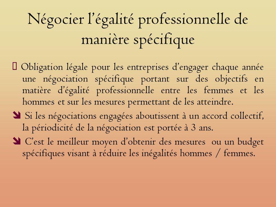 Négocier légalité professionnelle de manière spécifique Obligation légale pour les entreprises dengager chaque année une négociation spécifique portant sur des objectifs en matière dégalité professionnelle entre les femmes et les hommes et sur les mesures permettant de les atteindre.