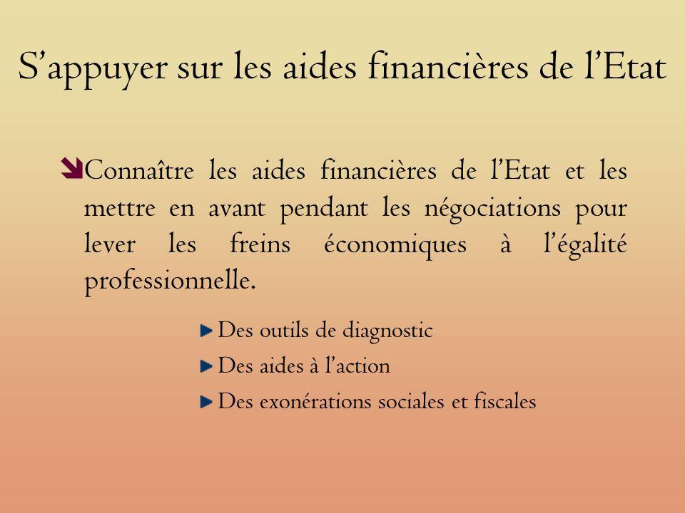 Sappuyer sur les aides financières de lEtat Connaître les aides financières de lEtat et les mettre en avant pendant les négociations pour lever les freins économiques à légalité professionnelle.