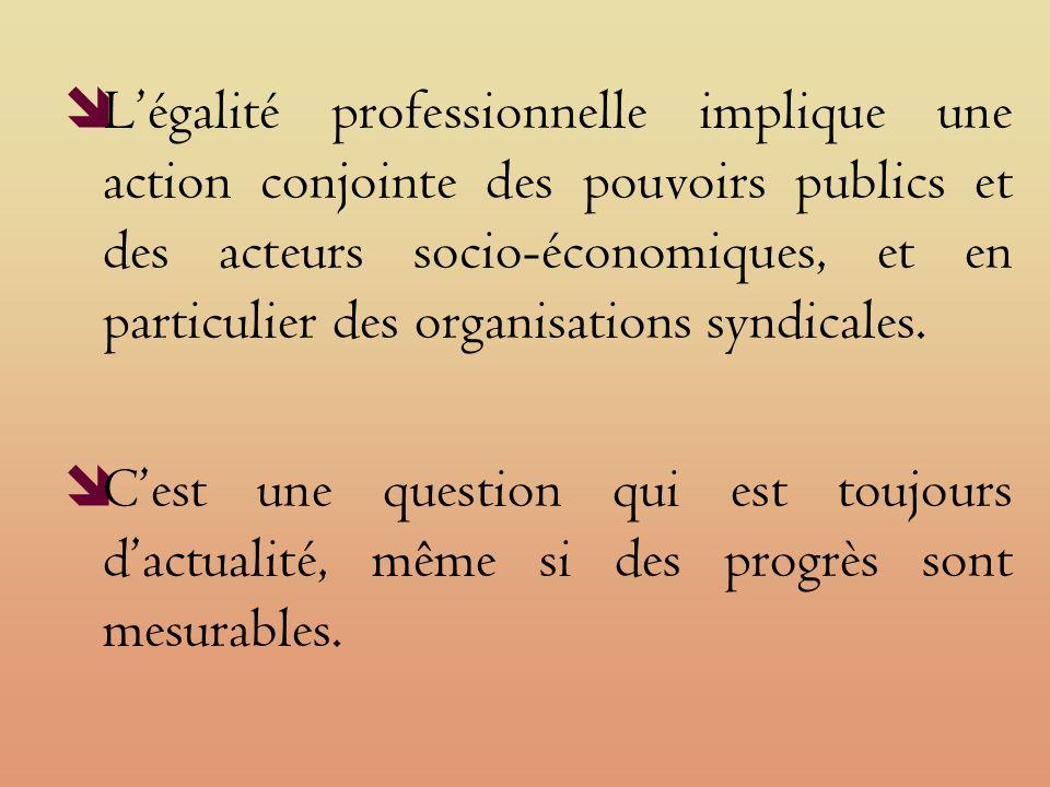 Légalité professionnelle implique une action conjointe des pouvoirs publics et des acteurs socio-économiques, et en particulier des organisations syndicales.