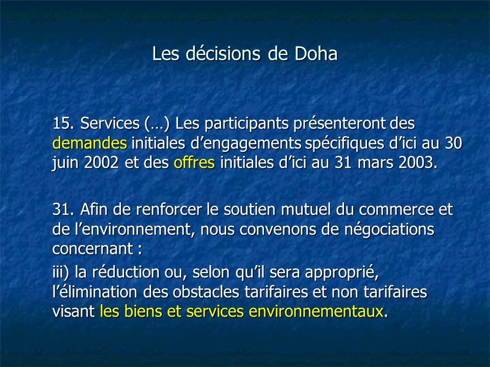 Les décisions de Doha 15. Services (…) Les participants présenteront des demandes initiales dengagements spécifiques dici au 30 juin 2002 et des offre
