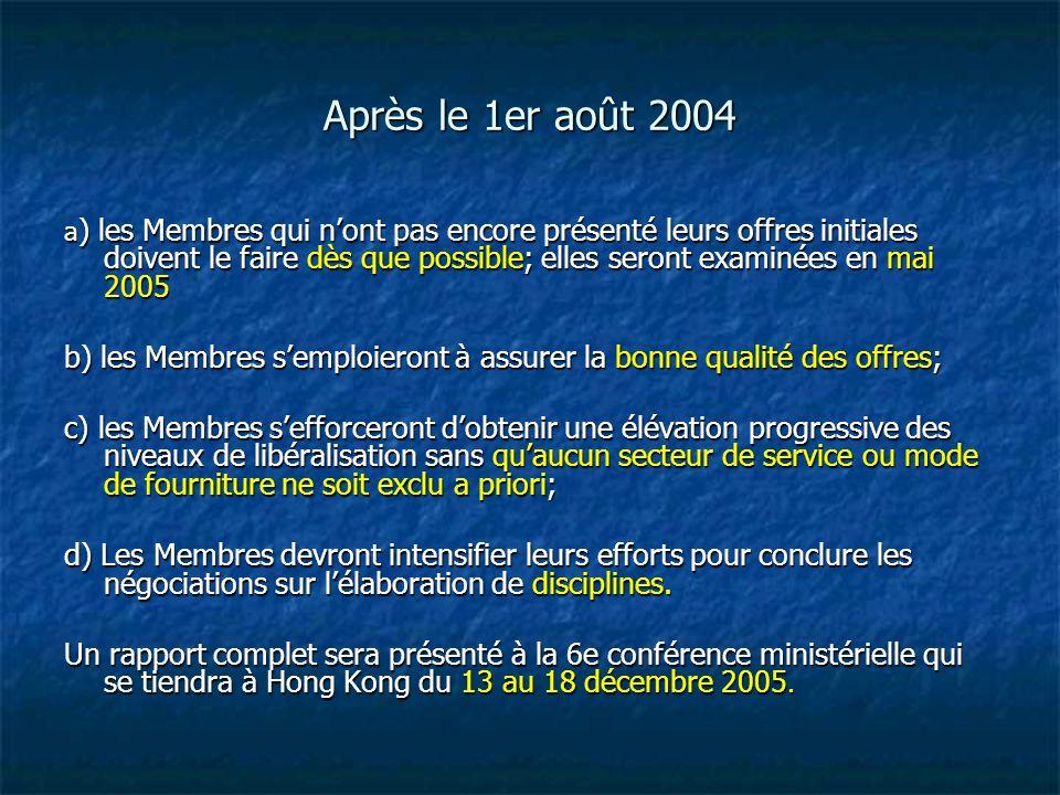 Après le 1er août 2004 a ) les Membres qui nont pas encore présenté leurs offres initiales doivent le faire dès que possible; elles seront examinées e