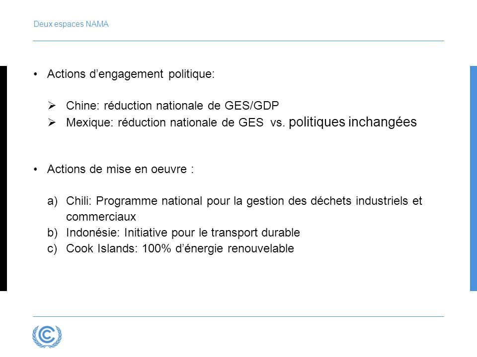 Deux espaces NAMA Actions dengagement politique: Chine: réduction nationale de GES/GDP Mexique: réduction nationale de GES vs.