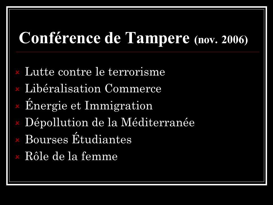 Conférence de Tampere (nov. 2006) Lutte contre le terrorisme Libéralisation Commerce Énergie et Immigration Dépollution de la Méditerranée Bourses Étu
