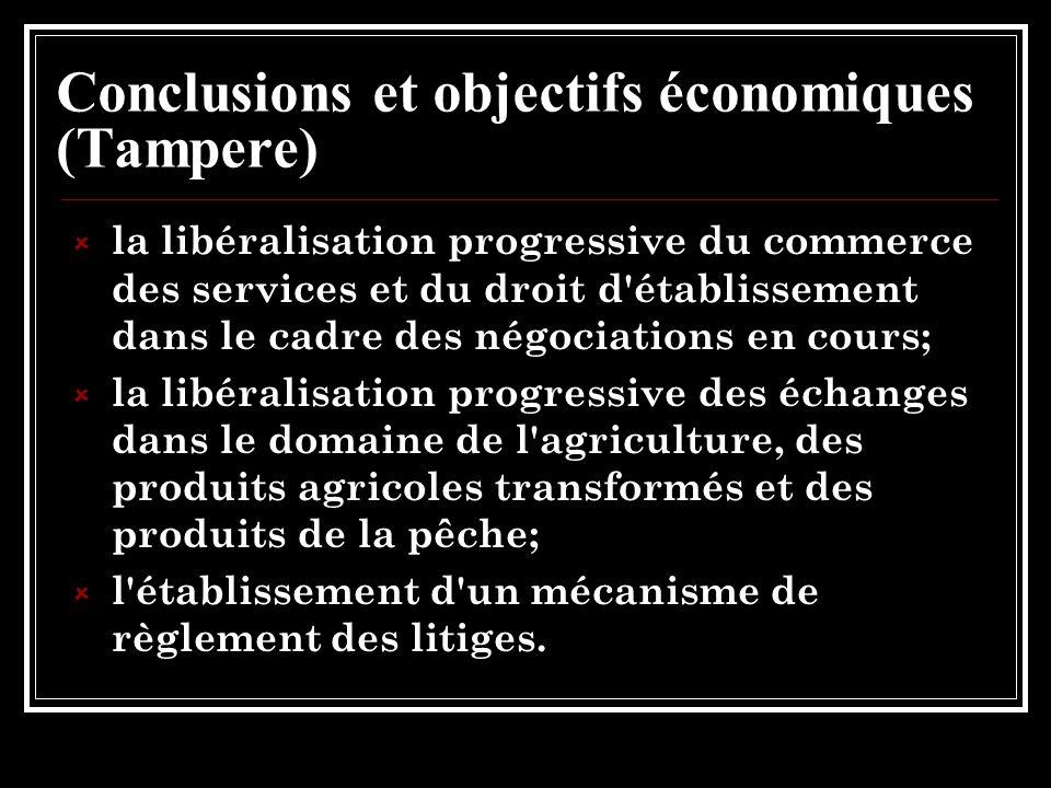 Conclusions et objectifs économiques (Tampere) la libéralisation progressive du commerce des services et du droit d établissement dans le cadre des négociations en cours; la libéralisation progressive des échanges dans le domaine de l agriculture, des produits agricoles transformés et des produits de la pêche; l établissement d un mécanisme de règlement des litiges.