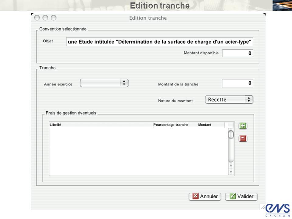 Edition tranche