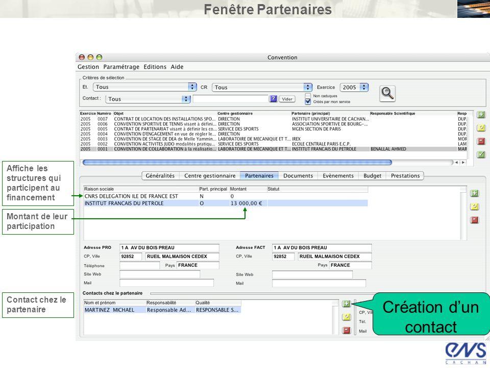 Fenêtre Partenaires Affiche les structures qui participent au financement Contact chez le partenaire Montant de leur participation Création dun contac