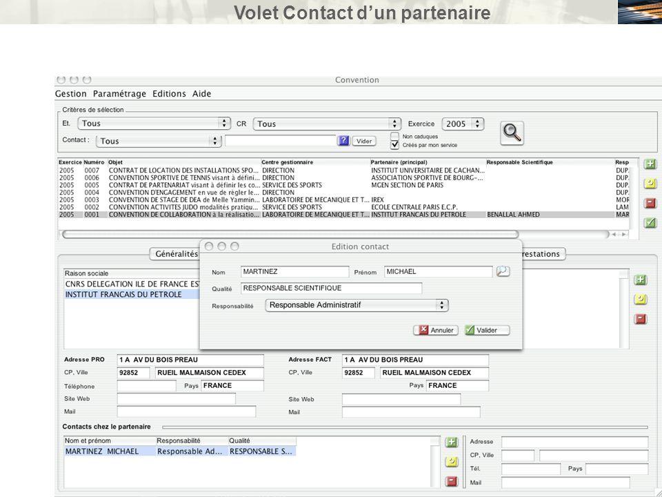 Volet Contact dun partenaire