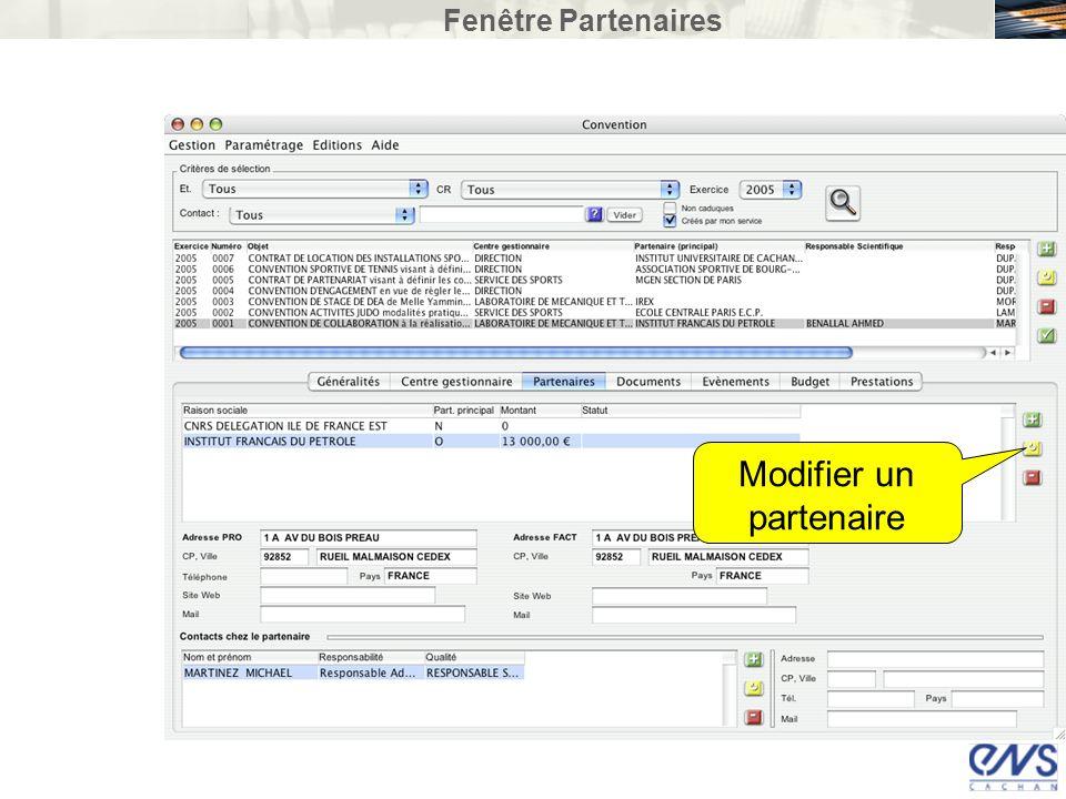 Fenêtre Partenaires Modifier un partenaire
