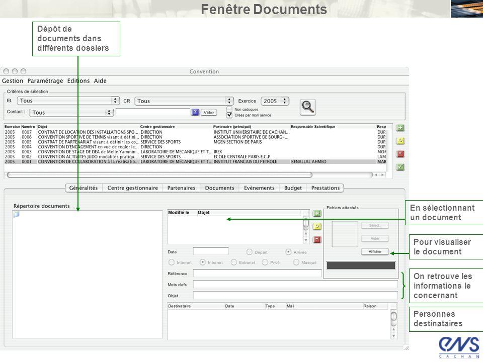 Fenêtre Documents Dépôt de documents dans différents dossiers En sélectionnant un document Pour visualiser le document On retrouve les informations le