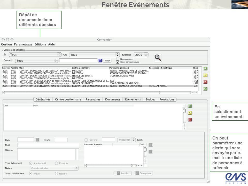 Fenêtre Evénements Dépôt de documents dans différents dossiers En sélectionnant un événement On peut paramétrer une alerte qui sera envoyée par e- mai