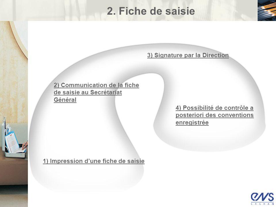 2) Communication de la fiche de saisie au Secrétariat Général 1) Impression dune fiche de saisie 3) Signature par la Direction 4) Possibilité de contr