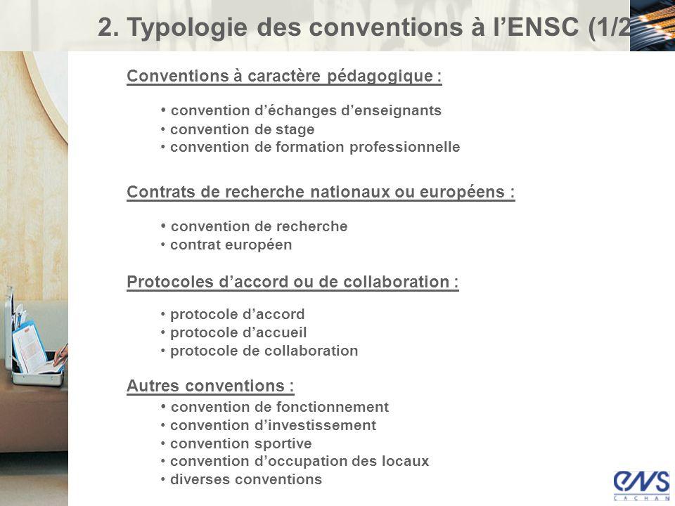 2. Typologie des conventions à lENSC (1/2) Conventions à caractère pédagogique : convention déchanges denseignants convention de stage convention de f