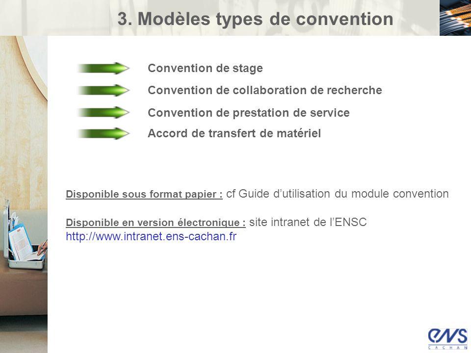 3. Modèles types de convention Convention de stage Convention de collaboration de recherche Convention de prestation de service Accord de transfert de