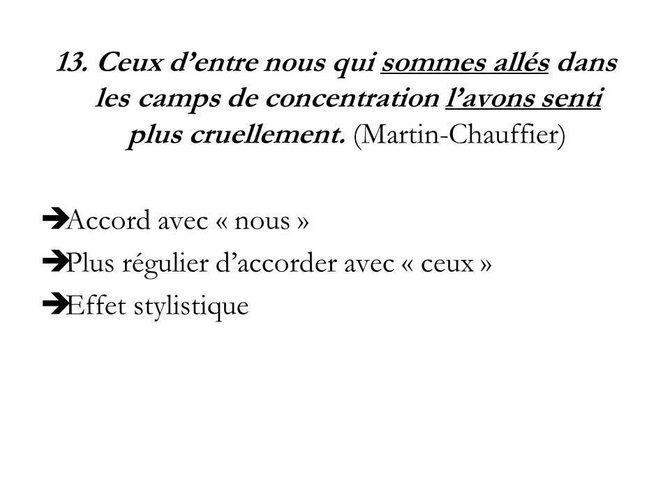 13. Ceux dentre nous qui sommes allés dans les camps de concentration lavons senti plus cruellement. (Martin-Chauffier) Accord avec « nous » Plus régu