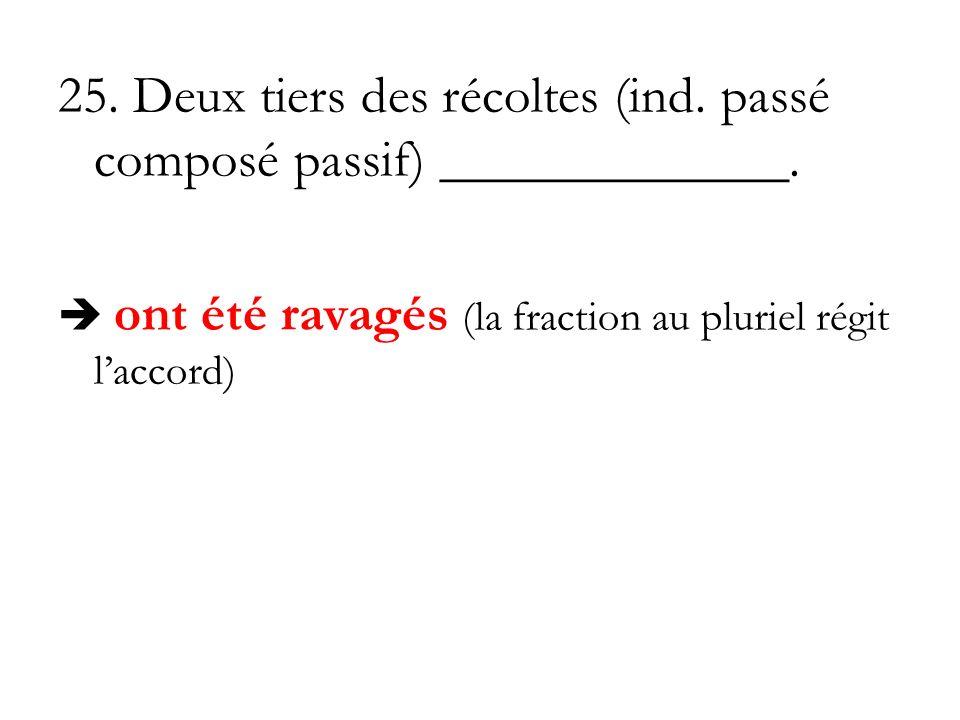 25. Deux tiers des récoltes (ind. passé composé passif) _____________. ont été ravagés (la fraction au pluriel régit laccord)
