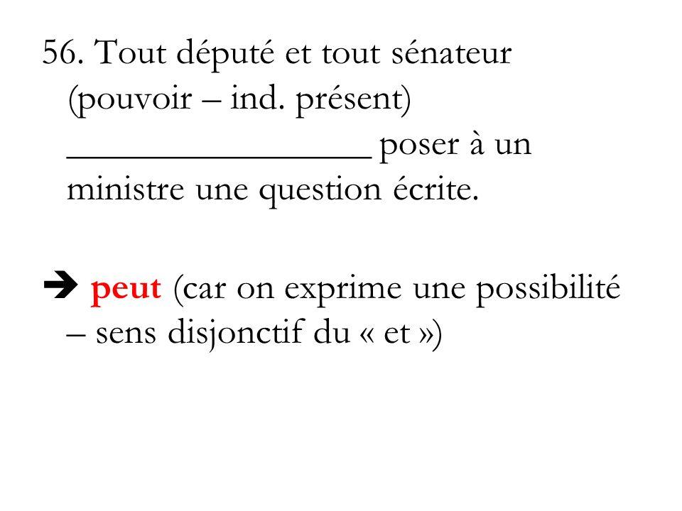56. Tout député et tout sénateur (pouvoir – ind. présent) ________________ poser à un ministre une question écrite. peut (car on exprime une possibili