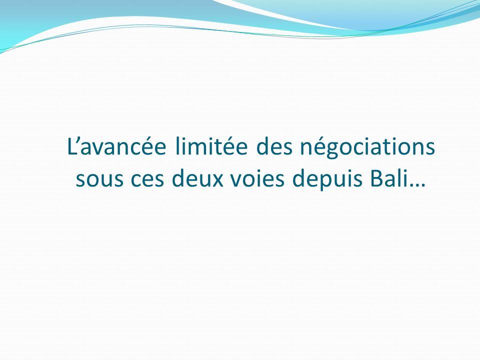 Lavancée limitée des négociations sous ces deux voies depuis Bali…