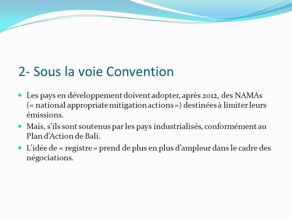 2- Sous la voie Convention Les pays en développement doivent adopter, après 2012, des NAMAs (« national appropriate mitigation actions ») destinées à limiter leurs émissions.