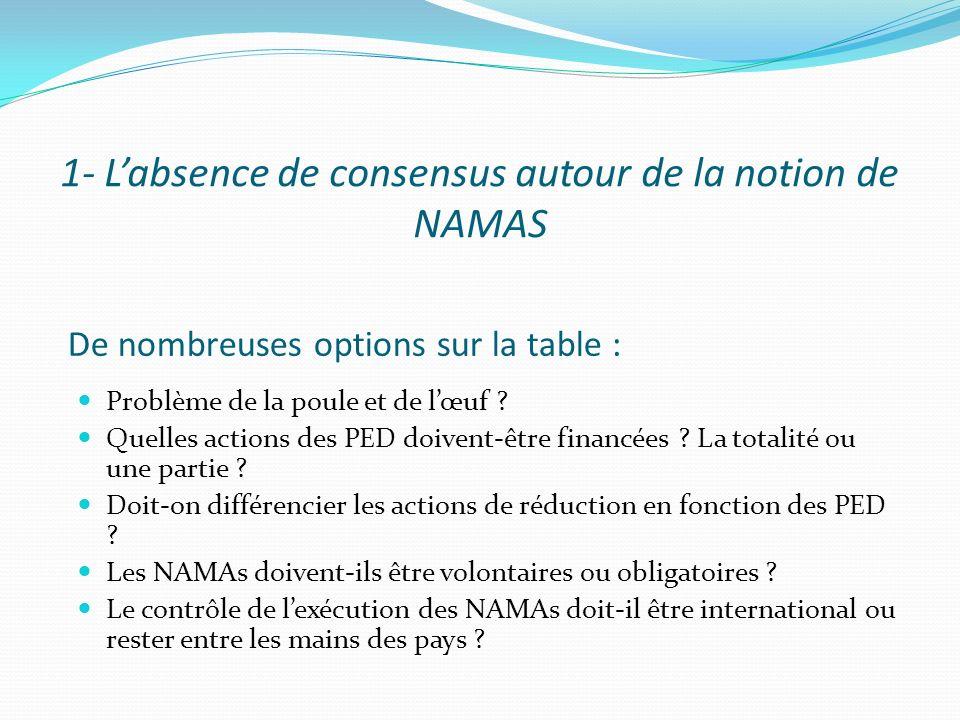 De nombreuses options sur la table : Problème de la poule et de lœuf ? Quelles actions des PED doivent-être financées ? La totalité ou une partie ? Do