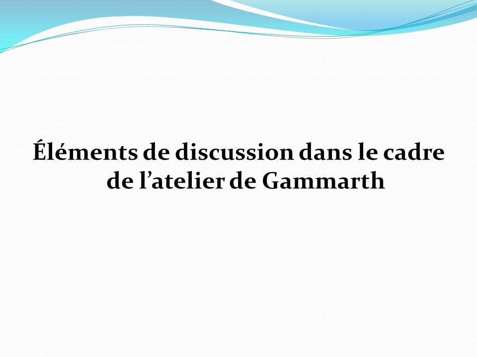 Éléments de discussion dans le cadre de latelier de Gammarth