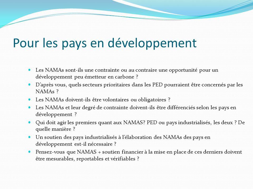 Pour les pays en développement Les NAMAs sont-ils une contrainte ou au contraire une opportunité pour un développement peu émetteur en carbone ? Daprè