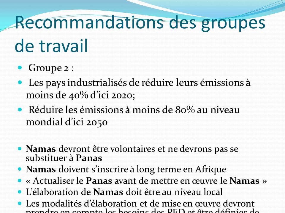 Recommandations des groupes de travail Groupe 2 : Les pays industrialisés de réduire leurs émissions à moins de 40% dici 2020; Réduire les émissions à moins de 80% au niveau mondial dici 2050 Namas devront être volontaires et ne devrons pas se substituer à Panas Namas doivent sinscrire à long terme en Afrique « Actualiser le Panas avant de mettre en œuvre le Namas » Lélaboration de Namas doit être au niveau local Les modalités délaboration et de mise en œuvre devront prendre en compte les besoins des PED et être définies de façon concerter avec la société civile