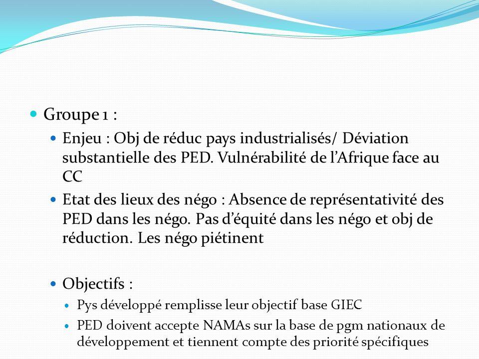 Groupe 1 : Enjeu : Obj de réduc pays industrialisés/ Déviation substantielle des PED. Vulnérabilité de lAfrique face au CC Etat des lieux des négo : A