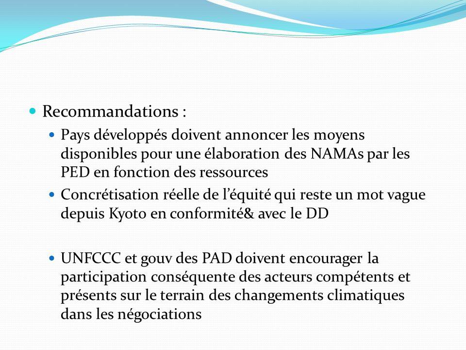 Recommandations : Pays développés doivent annoncer les moyens disponibles pour une élaboration des NAMAs par les PED en fonction des ressources Concré