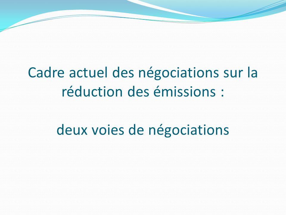 Cadre actuel des négociations sur la réduction des émissions : deux voies de négociations