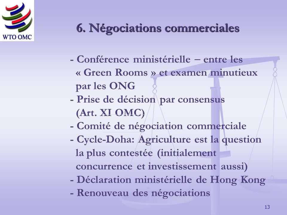 13 - Conférence ministérielle entre les « Green Rooms » et examen minutieux par les ONG - Prise de décision par consensus (Art.
