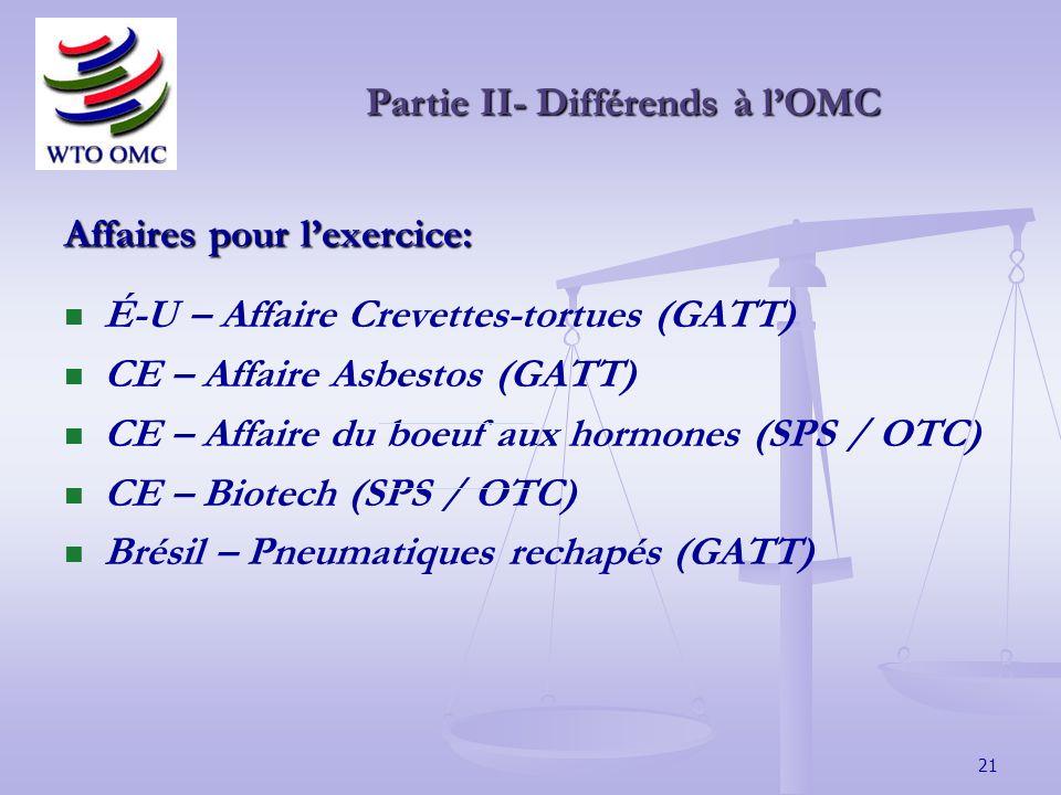 21 Affaires pour lexercice: É-U – Affaire Crevettes-tortues (GATT) CE – Affaire Asbestos (GATT) CE – Affaire du boeuf aux hormones (SPS / OTC) CE – Biotech (SPS / OTC) Brésil – Pneumatiques rechapés (GATT) Partie II- Différends à lOMC