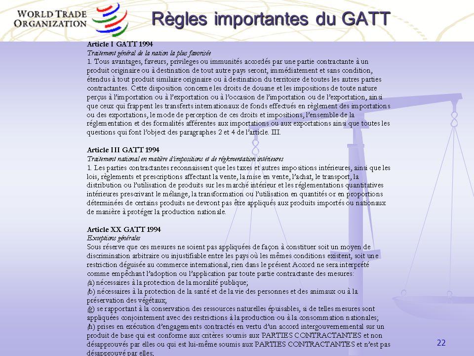 22 Règles importantes du GATT