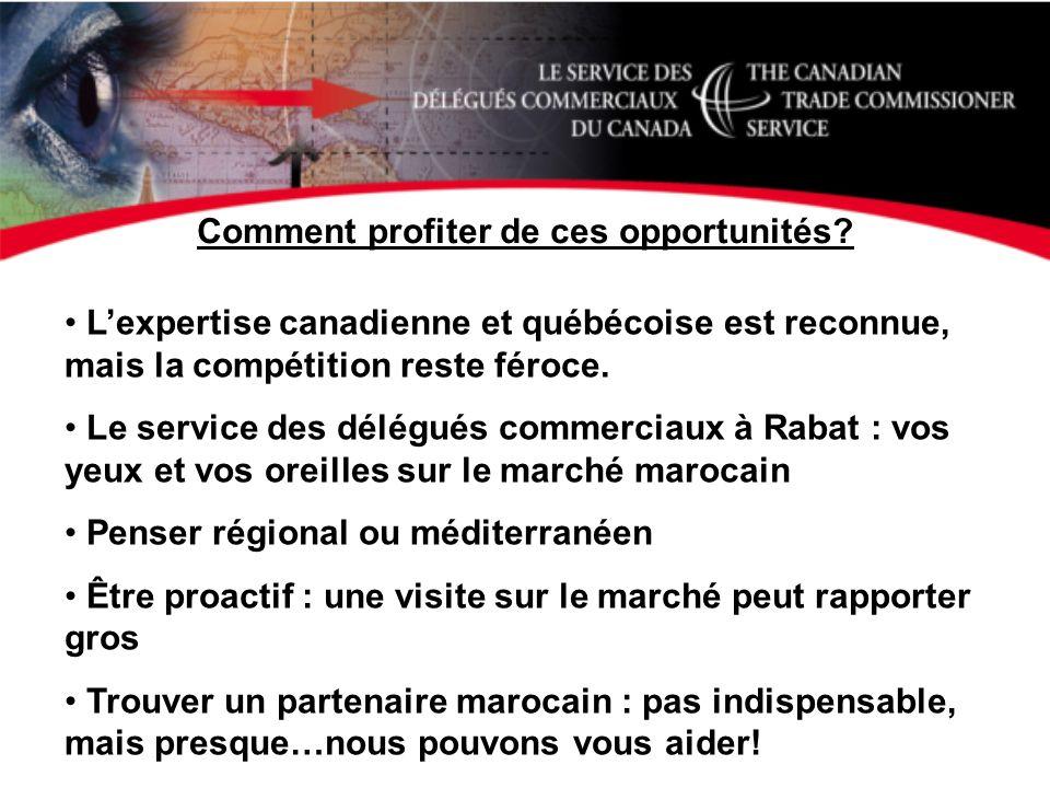 Comment profiter de ces opportunités? Lexpertise canadienne et québécoise est reconnue, mais la compétition reste féroce. Le service des délégués comm