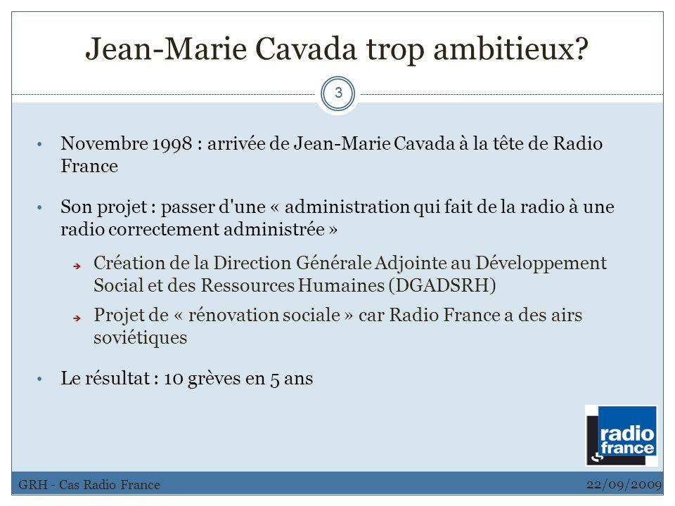 Jean-Marie Cavada trop ambitieux? 3 Novembre 1998 : arrivée de Jean-Marie Cavada à la tête de Radio France Son projet : passer d'une « administration