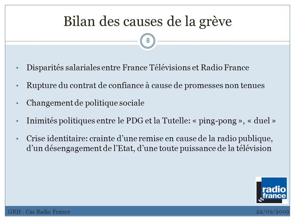 Bilan des causes de la grève 8 Disparités salariales entre France Télévisions et Radio France Rupture du contrat de confiance à cause de promesses non
