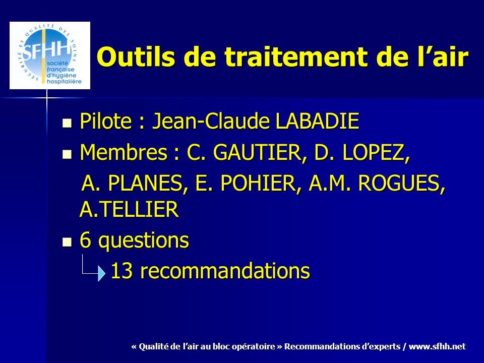 « Qualité de lair au bloc opératoire » Recommandations dexperts / www.sfhh.net Outils de traitement de lair Pilote : Jean-Claude LABADIE Pilote : Jean