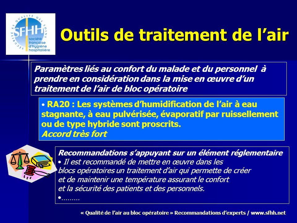« Qualité de lair au bloc opératoire » Recommandations dexperts / www.sfhh.net Outils de traitement de lair Paramètres liés au confort du malade et du