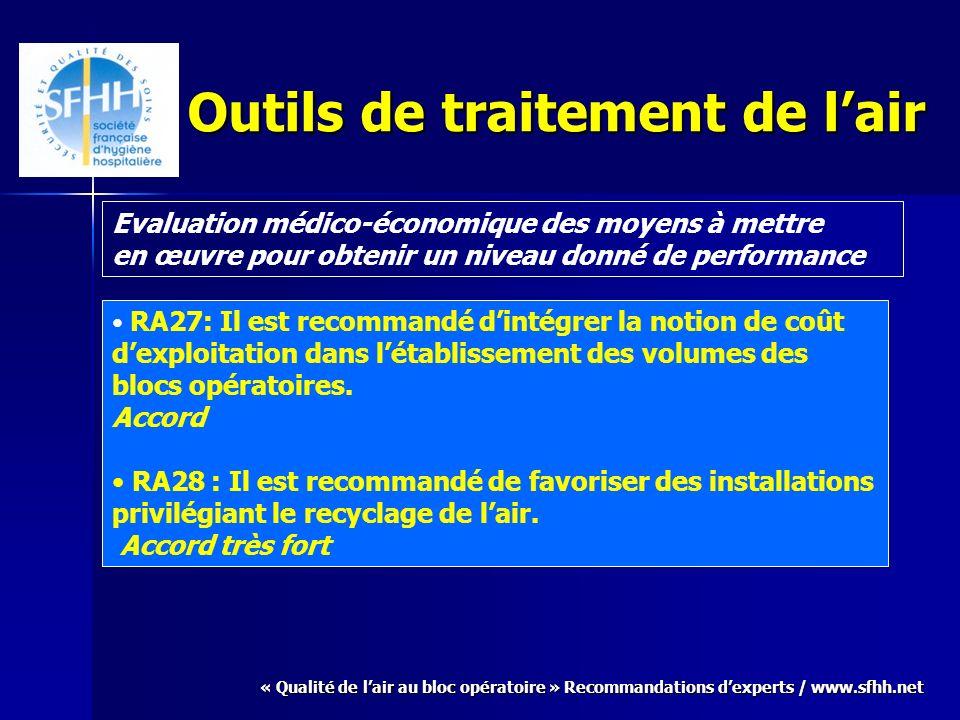 « Qualité de lair au bloc opératoire » Recommandations dexperts / www.sfhh.net Outils de traitement de lair Evaluation médico-économique des moyens à