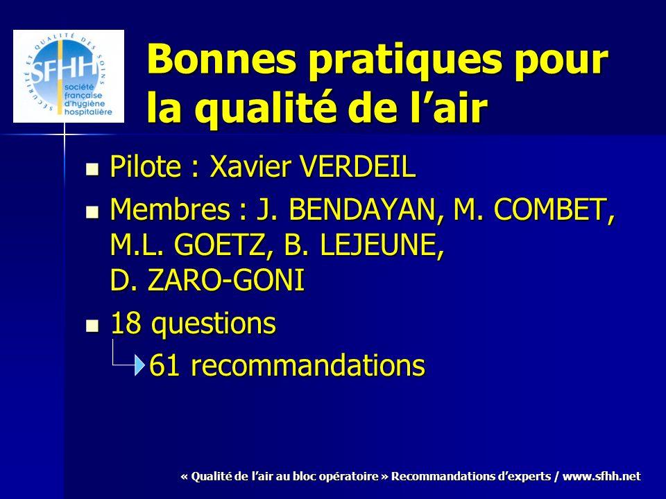 « Qualité de lair au bloc opératoire » Recommandations dexperts / www.sfhh.net Bonnes pratiques pour la qualité de lair Pilote : Xavier VERDEIL Pilote