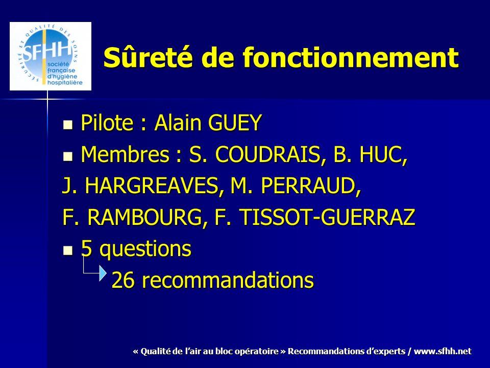 « Qualité de lair au bloc opératoire » Recommandations dexperts / www.sfhh.net Sûreté de fonctionnement Pilote : Alain GUEY Pilote : Alain GUEY Membres : S.
