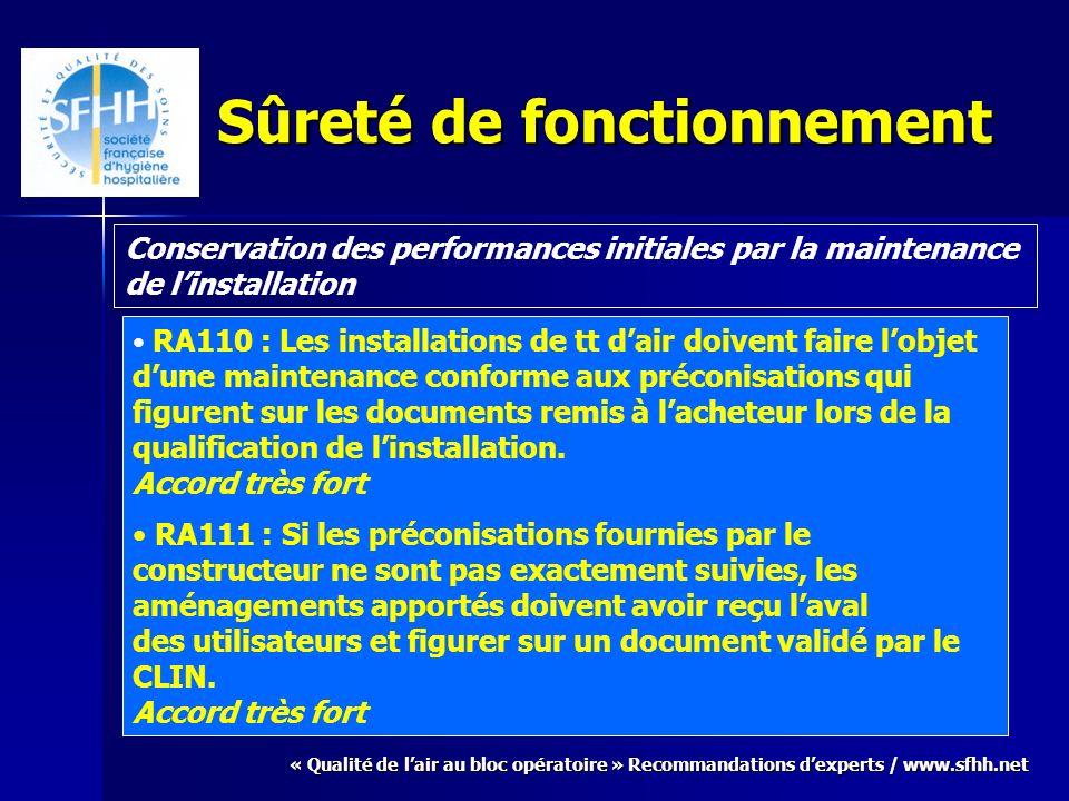 « Qualité de lair au bloc opératoire » Recommandations dexperts / www.sfhh.net Sûreté de fonctionnement Conservation des performances initiales par la