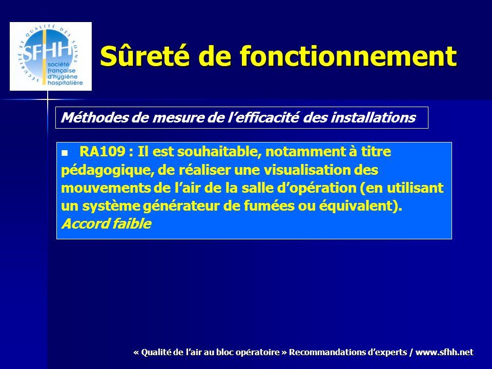 « Qualité de lair au bloc opératoire » Recommandations dexperts / www.sfhh.net Sûreté de fonctionnement RA109 : Il est souhaitable, notamment à titre pédagogique, de réaliser une visualisation des mouvements de lair de la salle dopération (en utilisant un système générateur de fumées ou équivalent).