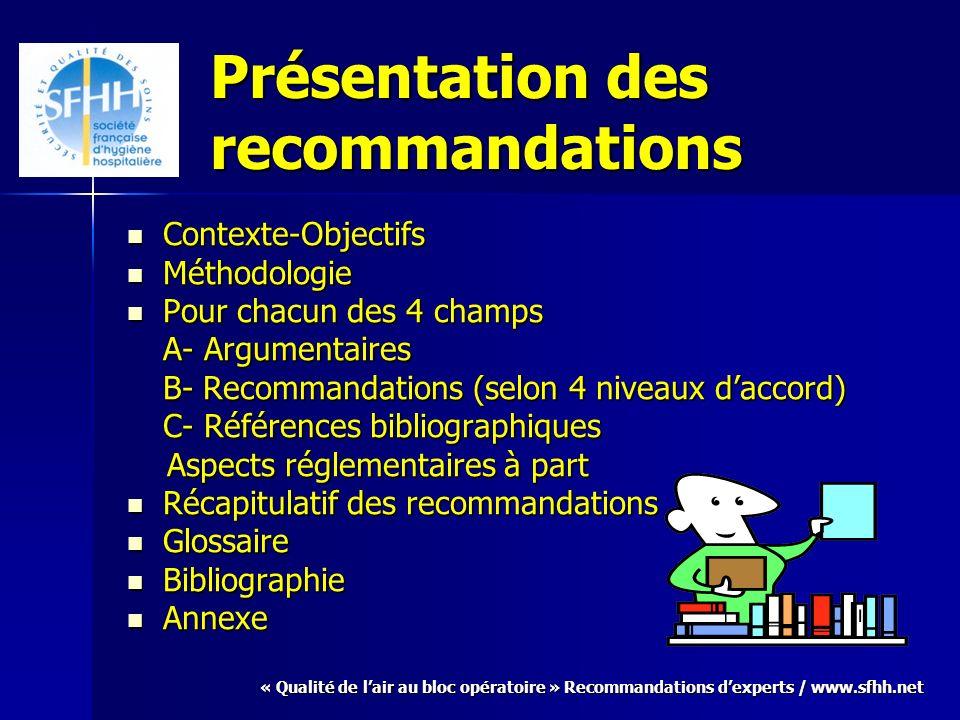 « Qualité de lair au bloc opératoire » Recommandations dexperts / www.sfhh.net Présentation des recommandations Contexte-Objectifs Contexte-Objectifs