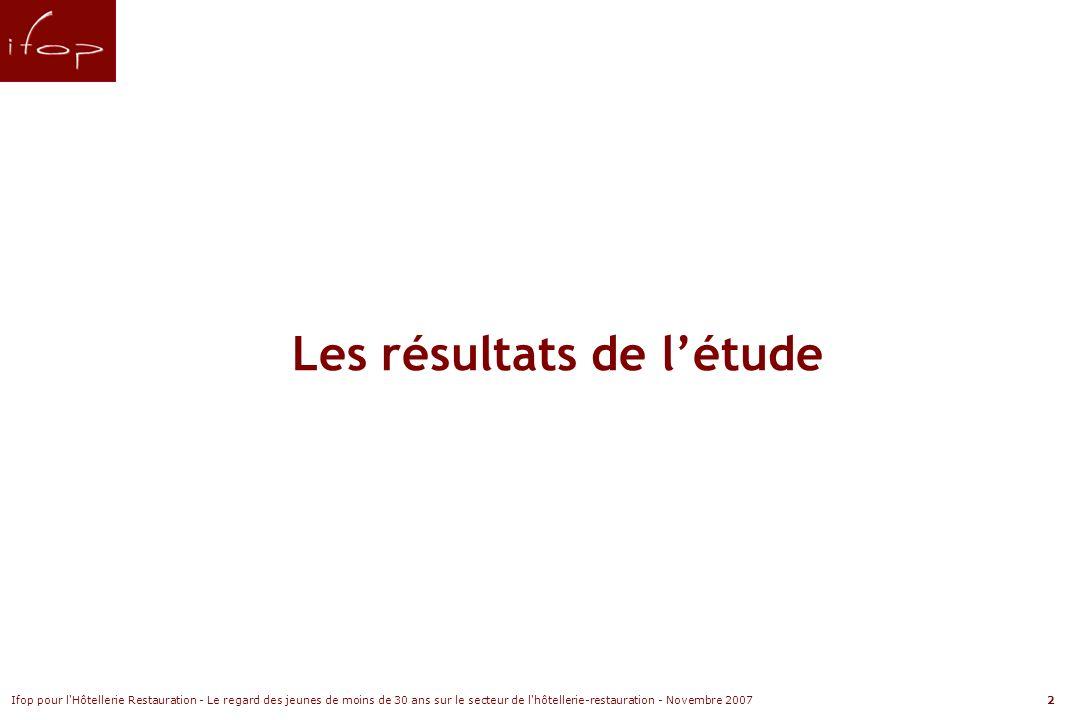 Ifop pour l Hôtellerie Restauration - Le regard des jeunes de moins de 30 ans sur le secteur de l hôtellerie-restauration - Novembre 20072 Les résultats de létude