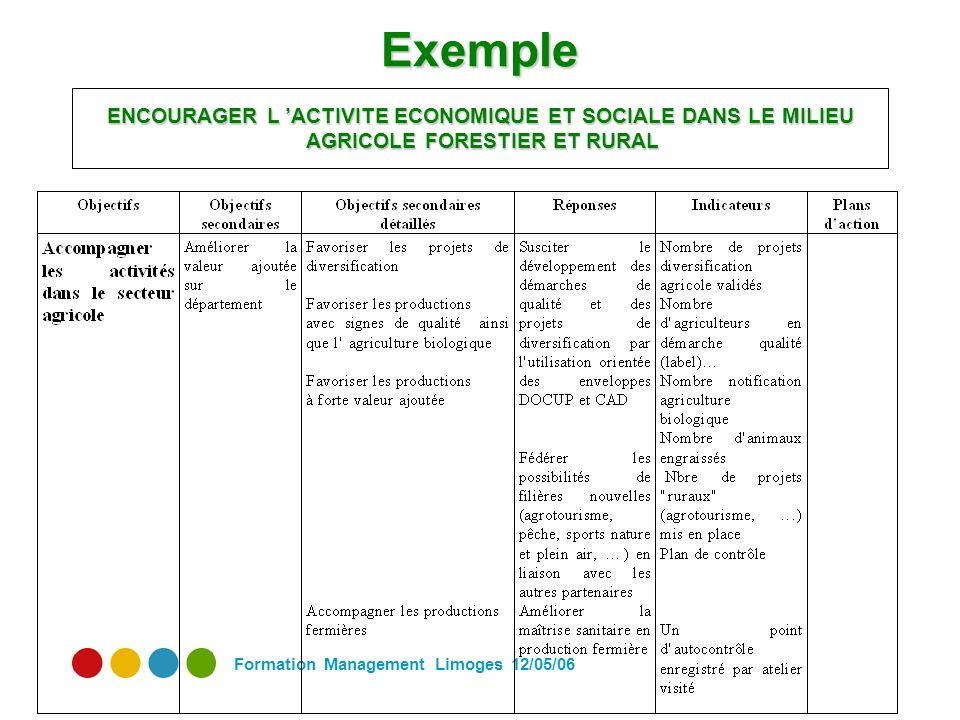 Formation Management Limoges 12/05/06 Exemple ENCOURAGER L ACTIVITE ECONOMIQUE ET SOCIALE DANS LE MILIEU AGRICOLE FORESTIER ET RURAL