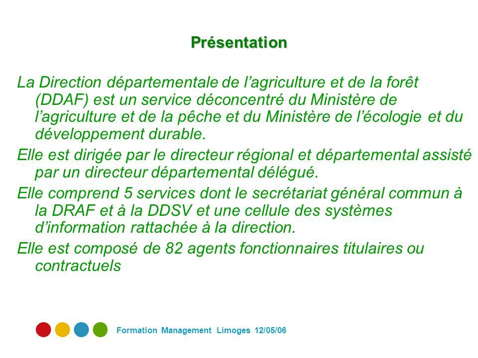Formation Management Limoges 12/05/06 Présentation La Direction départementale de lagriculture et de la forêt (DDAF) est un service déconcentré du Ministère de lagriculture et de la pêche et du Ministère de lécologie et du développement durable.
