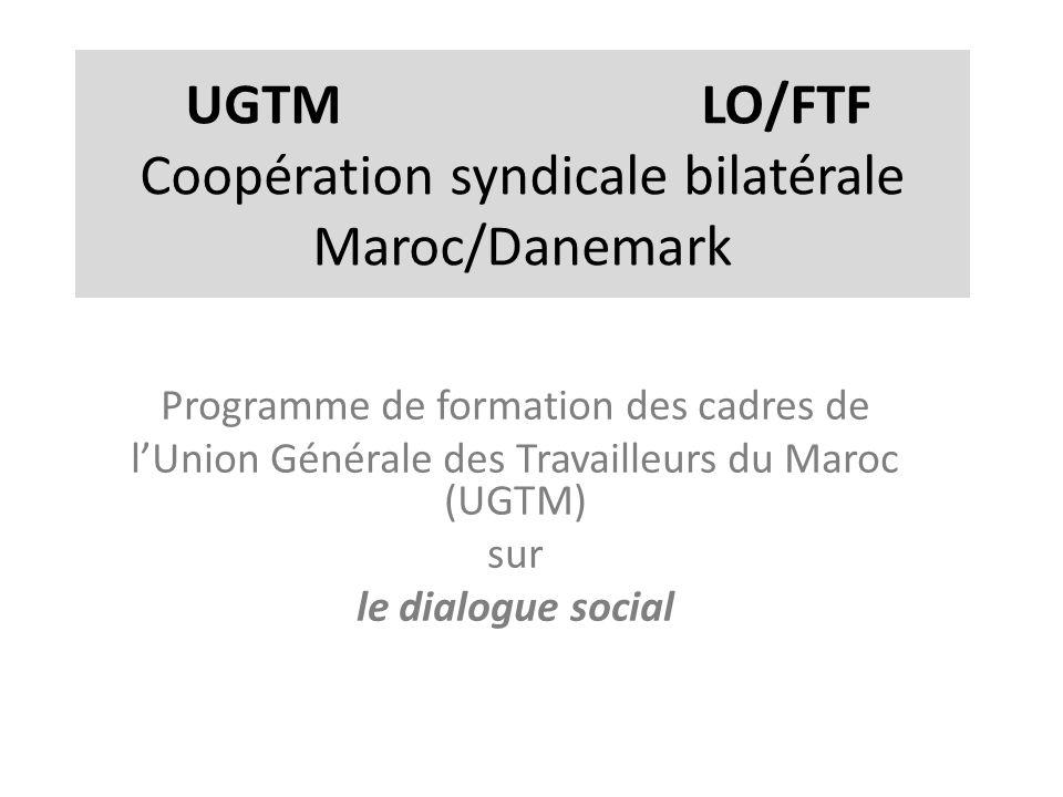UGTM LO/FTF Coopération syndicale bilatérale Maroc/Danemark Programme de formation des cadres de lUnion Générale des Travailleurs du Maroc (UGTM) sur le dialogue social