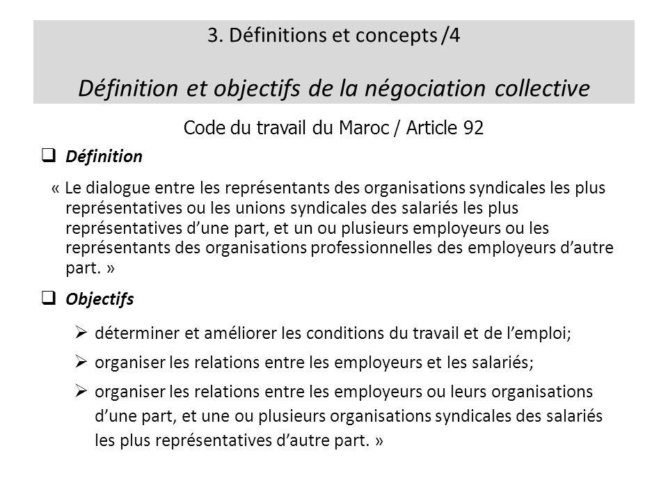 3. Définitions et concepts /4 Définition et objectifs de la négociation collective Code du travail du Maroc / Article 92 Définition « Le dialogue entr